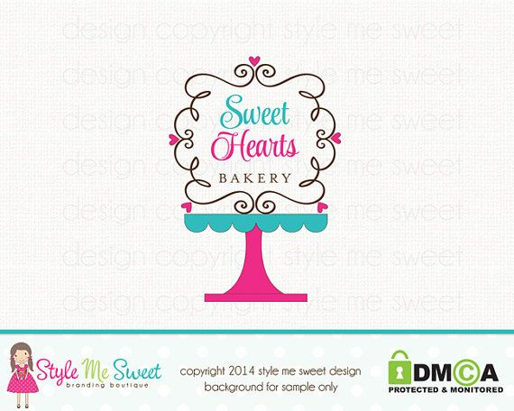 Cake Stand Logo Premade Bakery Logo Bakers by stylemesweetdesign