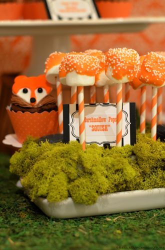 What Does the Fox Say marshmallow pops in a mossy cakepop holder.