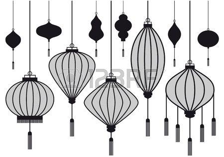 ensemble de lanterne chinoise vecteur silhouettes Banque d'images