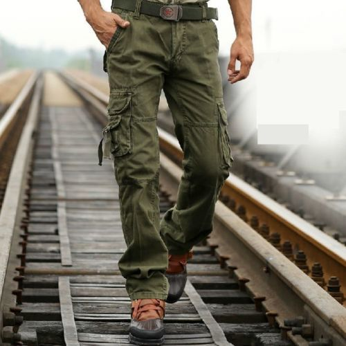 NEW MENS CASUAL OVERALLS MILITARY ARMY TROUSERS CARGO CAMO COMBAT WORK PANTS