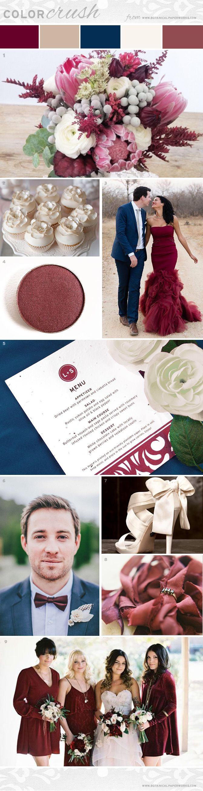 Rich, elegant and romantic, the Marsala, Cream and French Blue color pallete is classically beautiful and perfect for all wedding styles. #weddings #marsala #weddinginspiration #pantone #bridetobe