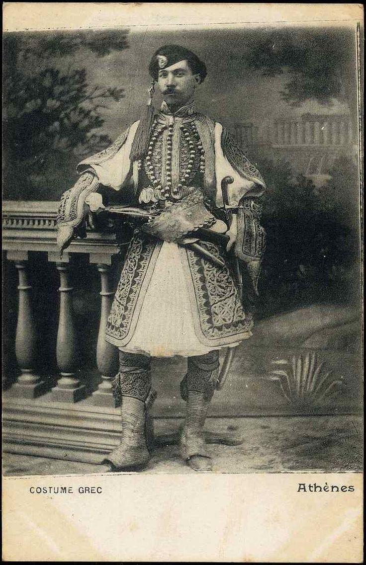 19世紀後半から20世紀初頭、ギリシャ、アテネ、フスタネーラと呼ばれるスカート型の下衣を着た男性。 pic.twitter.com/6GO5d432fr