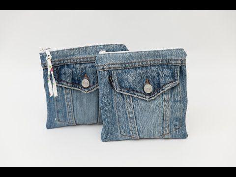 Frühlingsliebe Nähanleitung: Jeans Upcycling - Kosmetiktasche - YouTube