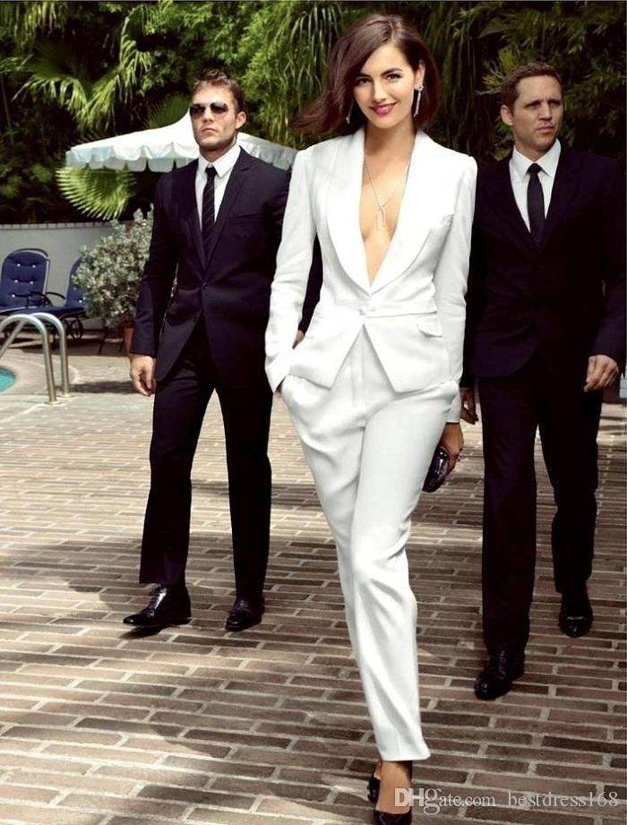 Smart White Ivory Women Tuxedos Slim Fit Suits For Women Shawl Lapel