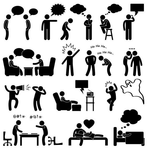 Man Person People Talk Think Conversation Thought Laugh Joke Whisper Scream Chat Shocked Quarrel Stickman Icon Symbol Sign Png Svg Vector In 2021 Pictogram Stick Figure Drawing Person Icon