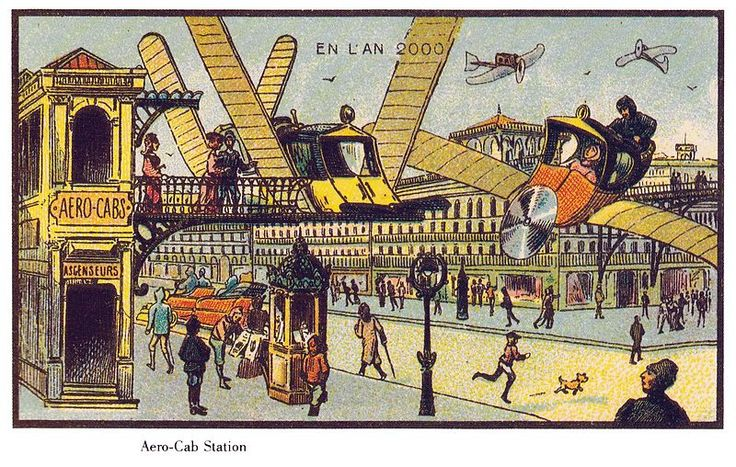 Them, 1900: Aerocabs // Us, 2013: Helicopters, monorails, hang gliders // From: The Public Domain Review