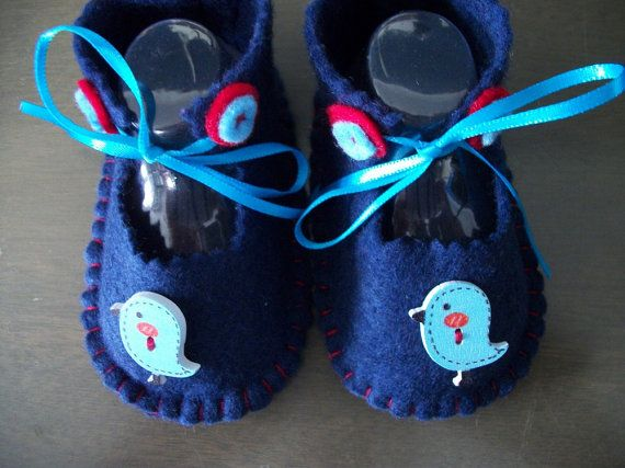 Blue Birds on Navy Hand Stitched Felt  Baby  Shoes by sharronmay