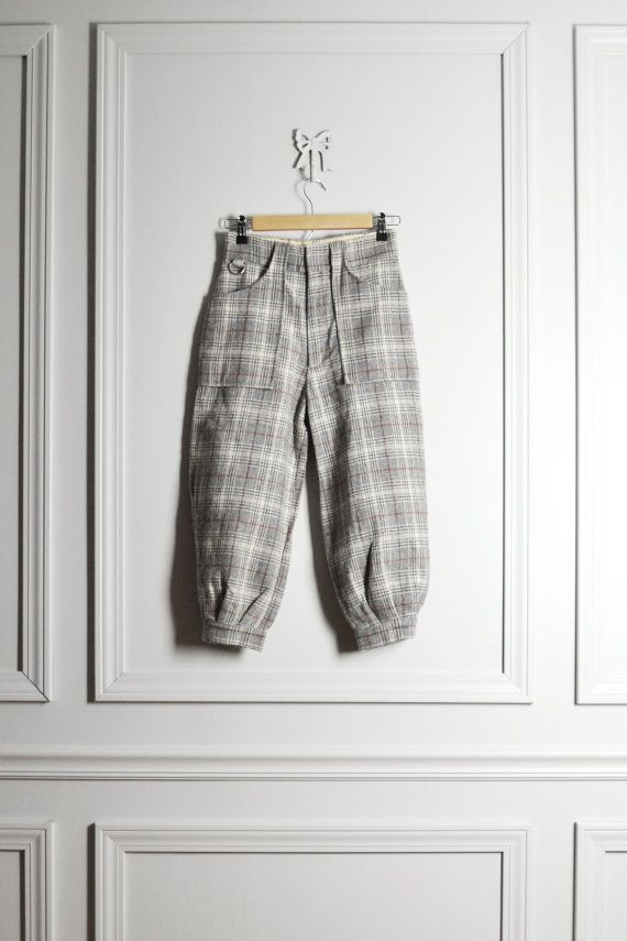 Pants Golf / Plaid Gray Wool / Puffy Riding Trousers by thriftage
