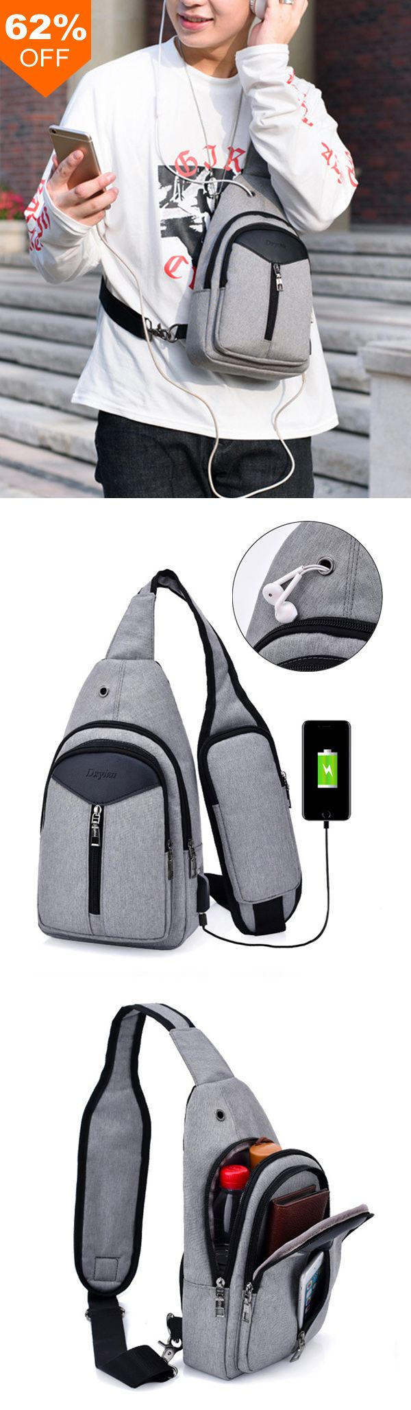 62%OFF&Free shipping. Crossbody Bag with USB Charging Port, Men Leisure Sling Bag Fashion Chest Bag. Make your life easier,shop now~