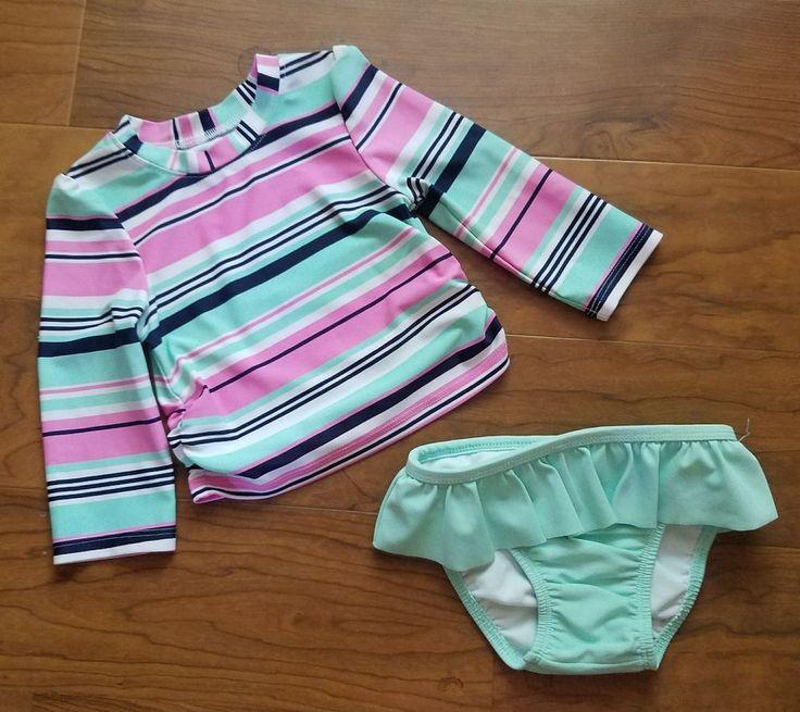 Circo Baby Girl Rash Guard Swim Shirt Long Sleeve & Bottoms Size 12 Months Pink #Circo #TwoPiece
