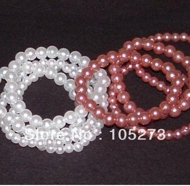 Потрясающие морские раковины ювелирные изделия перлы-жемчужина детские браслеты 8 шт. 4 сиреневый розовый и 4 белый ювелирные изделия 6 мм круглый 7 '' новый бесплатная доставка