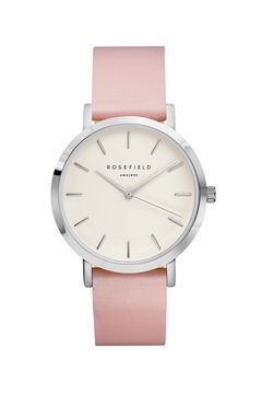 **The GRAMERCY White and Pink Silver Watch by Rosefield