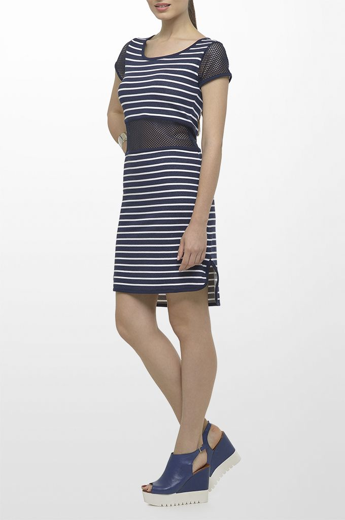 Sarah Lawrence - short sleeve striped dress with net details.