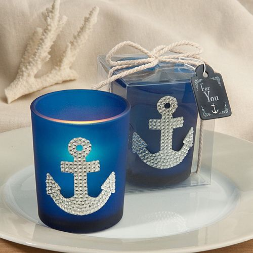 Spectacular anchor design candle favors:Sail away towards love and good times with these spectacular anchor design candle favors Every so often a favor comes along that just perfectly represents a certain theme or design. And, that's the case with this standout Fashioncraft-exclusive nautical number. Its deep blue color and dramatic anchor centerpiece design make it a can't-miss pick for all sea-related occasions. So let the celebrations begin!