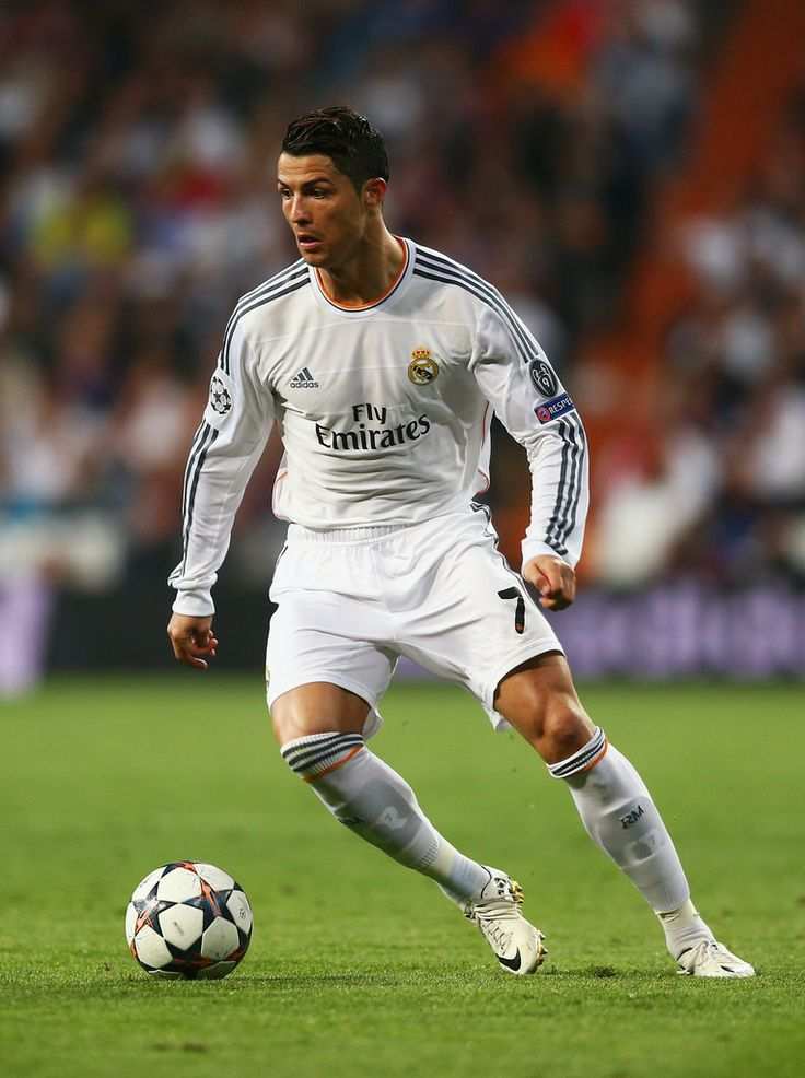 Cristiano Ronaldo in action during the UEFA Champions League semi-final  first leg match between