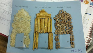 3 Little Pigs - houses made from shredded wheat, pretzels, and beans