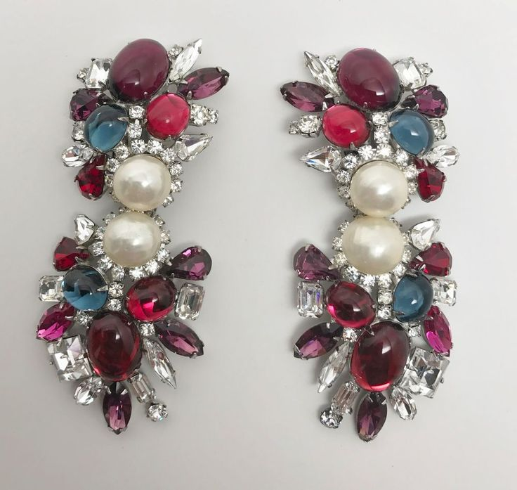 Sectacular Iradj Moini  Glass Cabochon, Pearl & Crystal Rhinestone Earrings  #IradjMoini #DropDangle