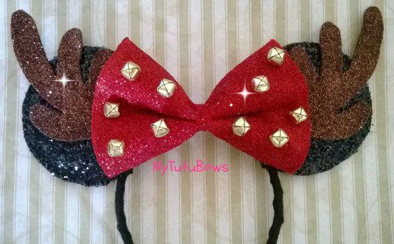 Minnie Mouse Ears Headband Reindeer Jingle Bells by mytutubows