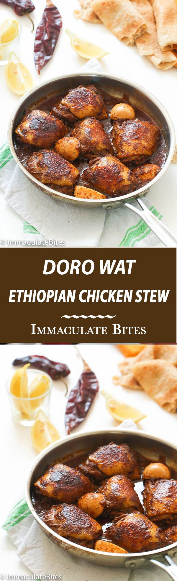 Doro Wat -Ethiopian Chicken Stew -slowly simmered in a blend of robust spices. Easy thick, comforting, delicious, and so easy to make.