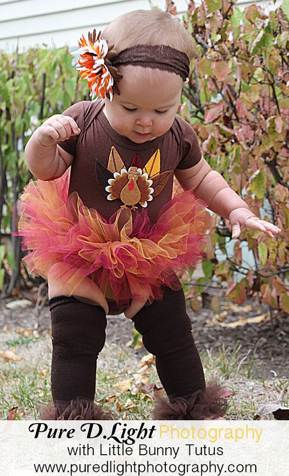 Lil' Turkey Ruffled Bunny Buns Tutu 1sy - So Cute for baby fits baby 0-18 months - Perfect for Fall Photos and Thanksgiving on Etsy, $24.00
