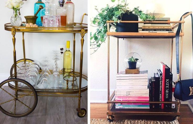 Você tem carrinhos de chá em casa? Você pode usá-lo de várias maneiras na decoração! Veja algumas ideias.