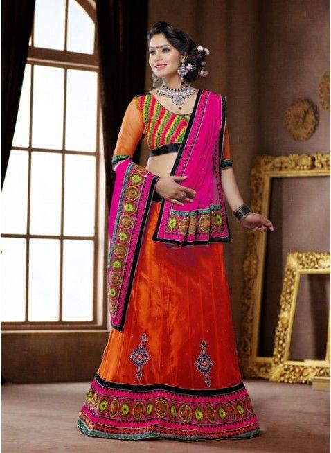 Ethnic Deep Deep Orange color Net Based #Lehenga Choli