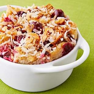 In this healthy bread pudding recipe, whole-wheat bread, fresh cranberries, candied ginger and toasted coconut come together for a memorable dessert.