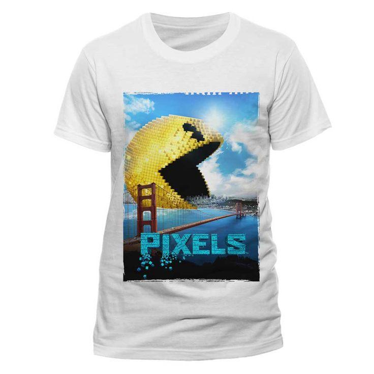 Pixels - Pac-man heren unisex T-shirt wit - Film merchandise