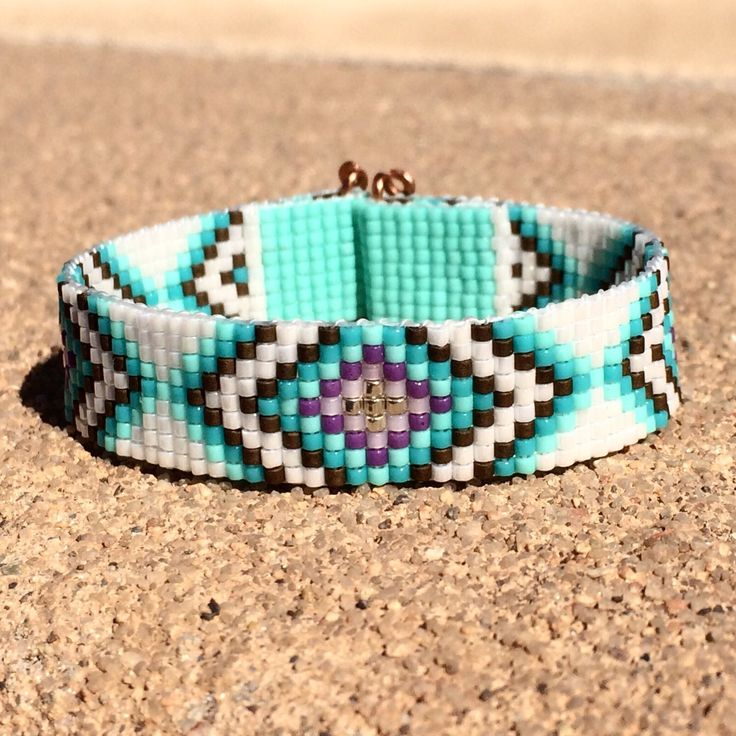 Tribal Diamonds Bead Loom Bracelet Bohemian Boho Artisanal Jewelry Indian Western Beaded Southwestern Turquoise Brown Santa Fe by PuebloAndCo on Etsy https://www.etsy.com/listing/225207528/tribal-diamonds-bead-loom-bracelet