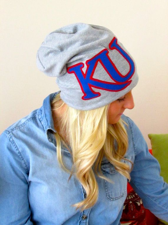Beanie slouchy hat University of Kansas KU by itshaleyjo on Etsy
