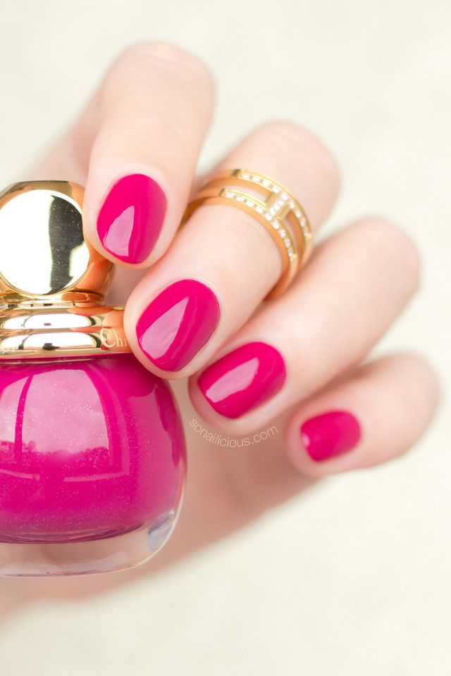 Diorific Precious - dark pink nail polish with gold shimmer, perfect evening manicure