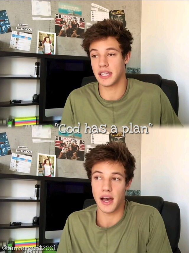 Oh Cam, so cute! First I thought that said COD has a plan and I'm like um... But then I realised it said God.