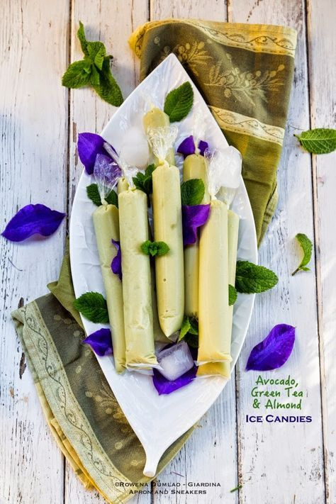Avocado, Green Tea & Almond Ice Popsicles: Philippine Ice Pops.  Vegan and easily done sugar-free!  Love the creativity and the healthfulness of this recipe!