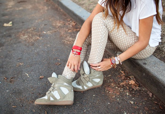 polka dot denim + Isabel Marant sneakers via @Aimee Song of Song