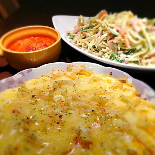 あと、手羽元と白菜のトマトスープ♪  パスタのお陰で、見た目よりかなりガッツリメニュー(^◇^;) - 14件のもぐもぐ - 残りパスタでリメイク二種☆フリッタータ&サラスパ by misa5311