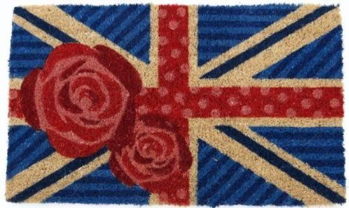 """Handmade British Rose Doormat Size: 18"""" x 30"""" by Imports Unlimited. $22.00. Abrasive and effective. British Rose Coir Mid Thickness Doormat. Coconut fiber construction. Resists fading and running. Features a design of roses against a British flag background. 950S Size: 18"""" x 30"""" Features: -Technique: Woven.-Material: All-natural coconut fiber.-Origin: India.-Hand stenciled with permanent fade-resistant dyes.-Excellent dirt-trapper. Construction: -Construction: Ha..."""