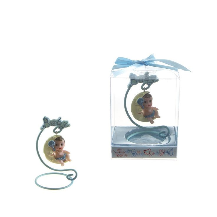 Lunaura Baby Keepsake - Set of 12 'Boy' Baby Sitting on Swing Moon Favors - Blue >>> Click image to review more details. (This is an affiliate link and I receive a commission for the sales)