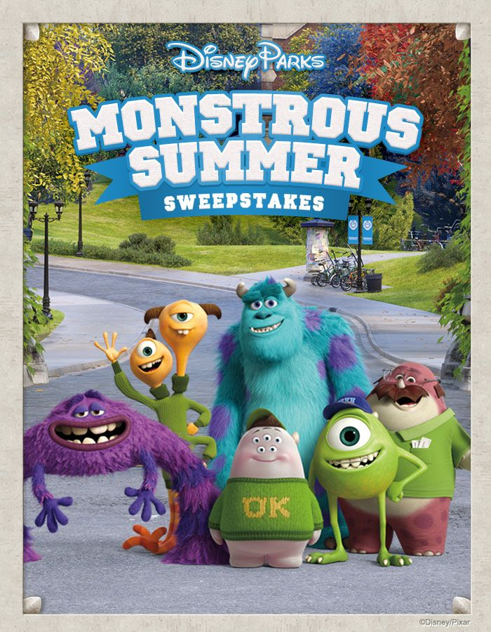 It is a Monstrous Summer at Disney Parks! Become an honorary Monsters University student today for your chance to win a family vacation to the Disney Park of your choice! See Official Rules. Ends 8/31/13.