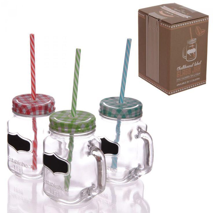 Glas Jar mit Deckel, Strohhalm und Label, Sommer Trend aus Großhandel und Import