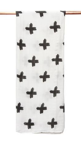 Bamboo/cotton muslin wrap - Painted Cross Print