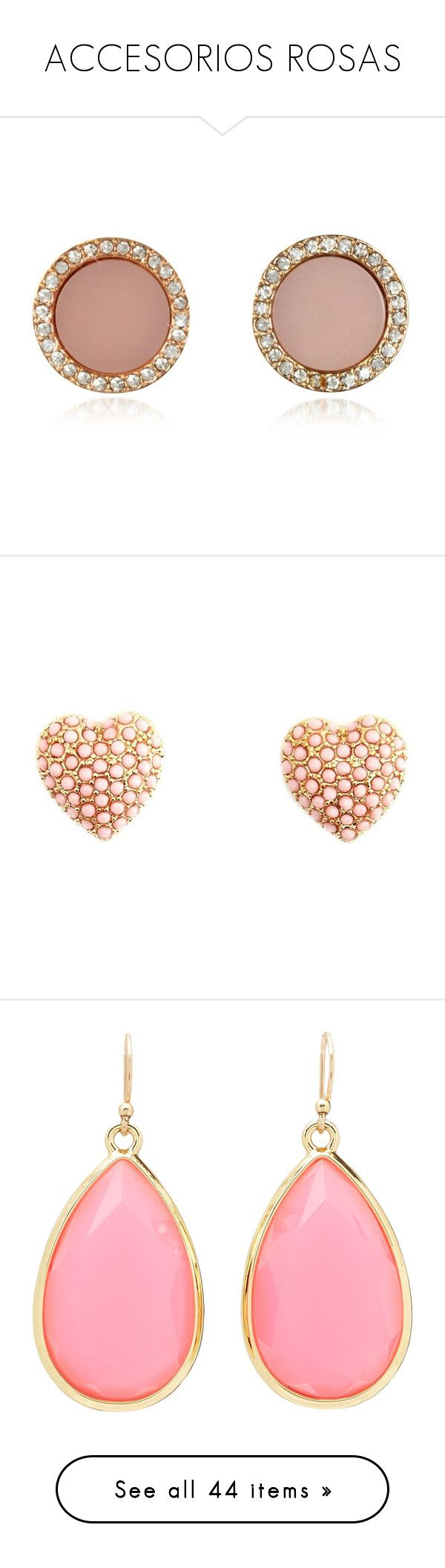 """ACCESORIOS ROSAS"" by infinito01 ❤ liked on Polyvore featuring jewelry, earrings, accessories, brinco, pink, earring jewelry, pave earrings, rose gold stud earrings, pink earrings and pink gold jewelry"
