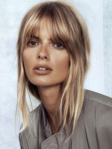 Julia Stegner with a soft fringe | Image via girlsgonehair.com (Wedding Hair Bangs)