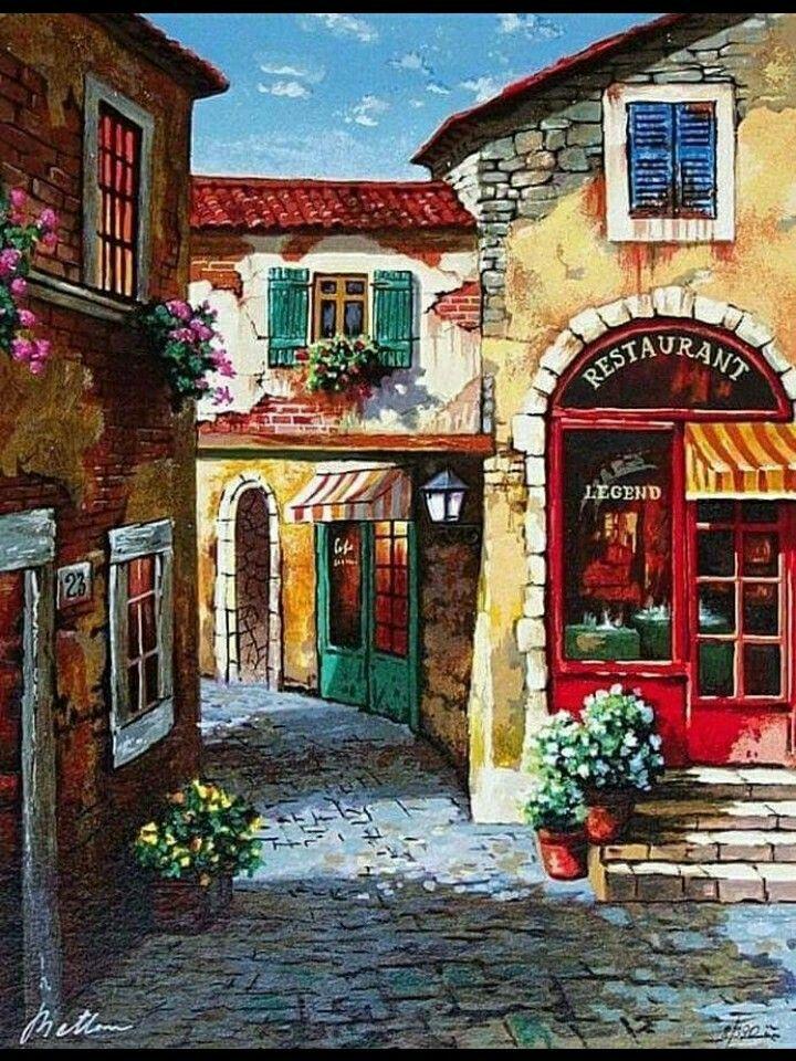 Pin By Elisabeth Kaleja On Las 4 Estaciones Paisajes Jardines Y Ciudades Retro Vintage Art Painting Painting Watercolor Art