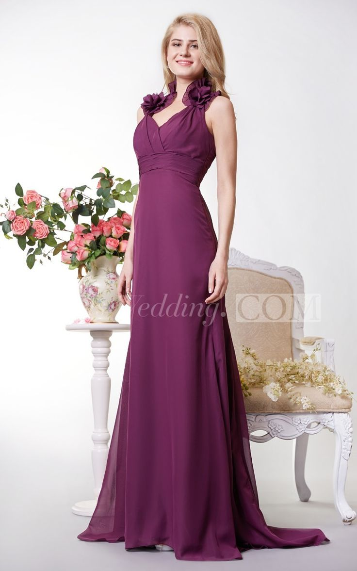 Unique Halter Sheath Chiffon Long Bridesmaid Dress With V Neck. An elegant grape bridesmaid dress that is perfect for a wedding party or any special event! Fully lined. Back zip. More colors are available. #grape #long #DorisWedding.com