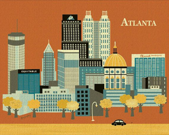 Horizontal Skyline Atlanta, Georgia - Destination Poster Print for Home, Office, and Child's Nursery - style E8-O-AT
