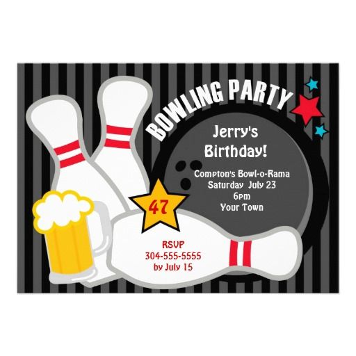 7 best Bowling party images on Pinterest Anniversary parties - bowling invitation