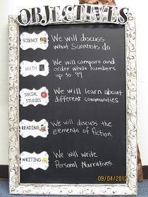 First Grade Crusade: Objectives Board