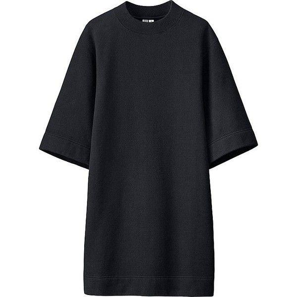 UNIQLO UNIQLO U Sweat 3/4 Sleeve Dress (732385 BYR) ❤ liked on Polyvore featuring dresses, cotton dresses, uniqlo dress, uniqlo, sleeved dresses and loose sleeve dress