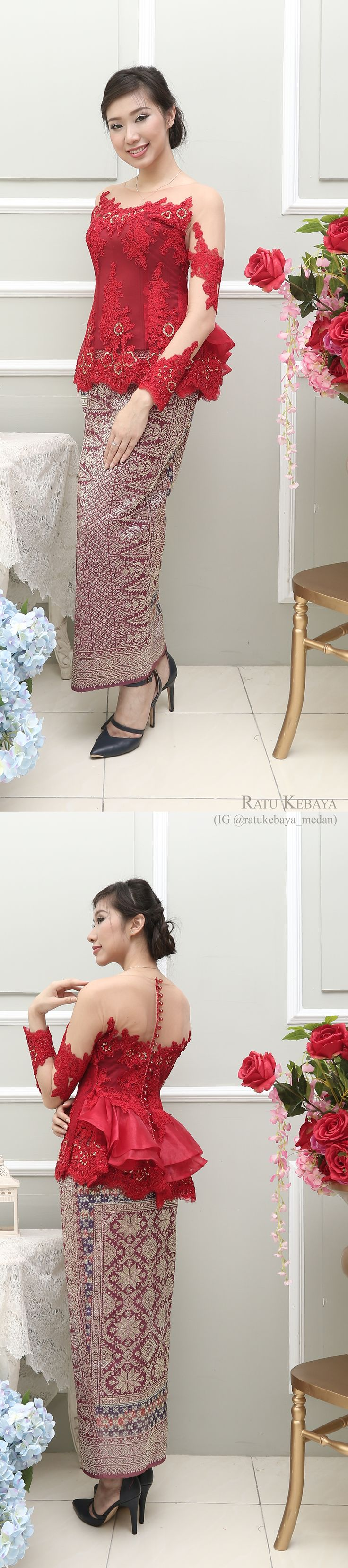 Kebaya @ratukebaya_medan. Padanan lace dan songket Palembang
