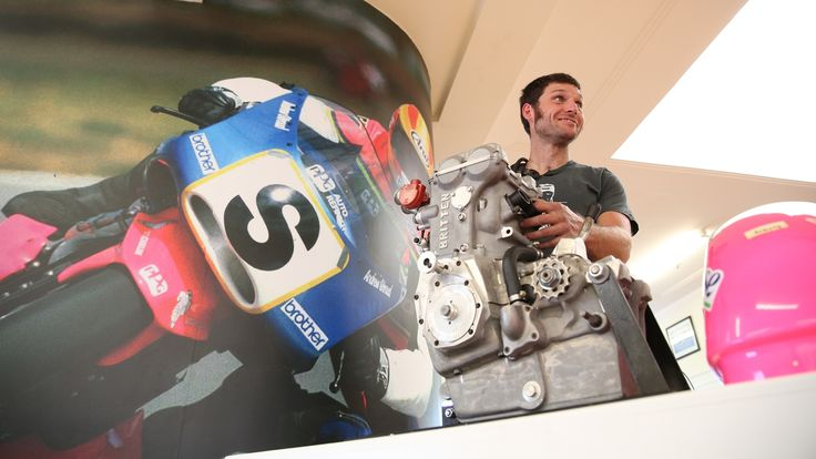 Guy Martin admiring a John Britten motor at Classic Motorcycle Mecca in Invercargill.